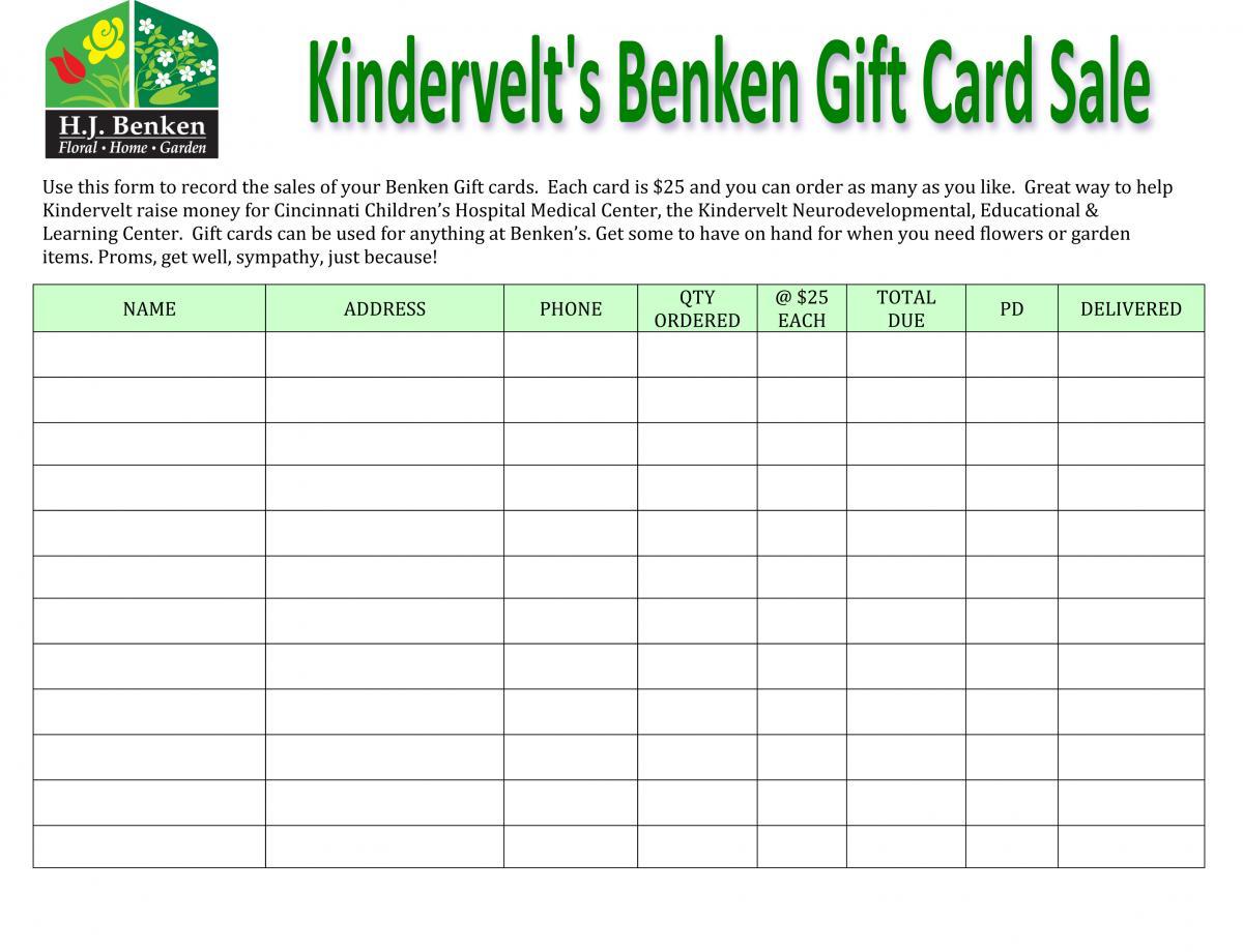 Benken's Gift Card Sale